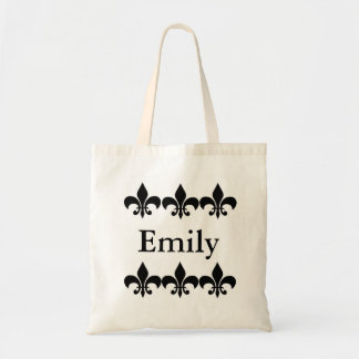 Black and White Fleur De Lis Personalized Tote