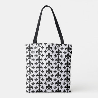 Black and White Fleur de Lis Tote Bag