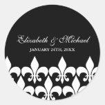 Black and White Fleur de Lis Wedding Favour Label Round Sticker