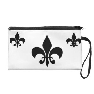 Black And White Fleur Del Lis Wristlet Bag