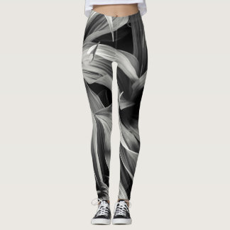 Black and White Flora Leaves Leggings