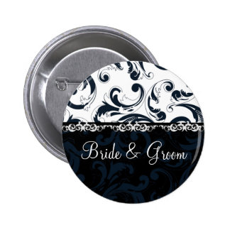 Black and White Floral 6 Cm Round Badge
