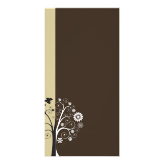 Black and white floral and butterflies picture card