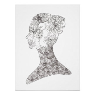 Black and White Floral Beauty Girl Salon Spa Poster