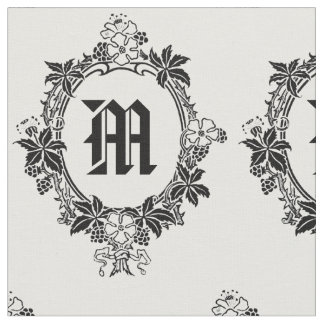Black and White Floral Border with Monogram Fabric
