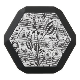 Black and white floral bouquet black bluetooth speaker