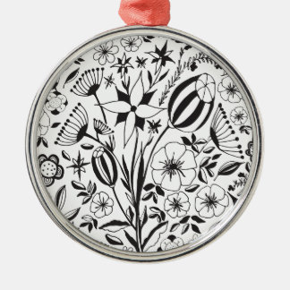 Black and white Floral bouquet Christmas Ornament