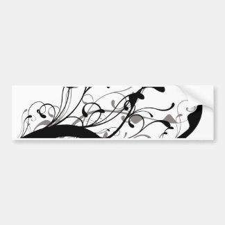 Black and white floral bumper sticker