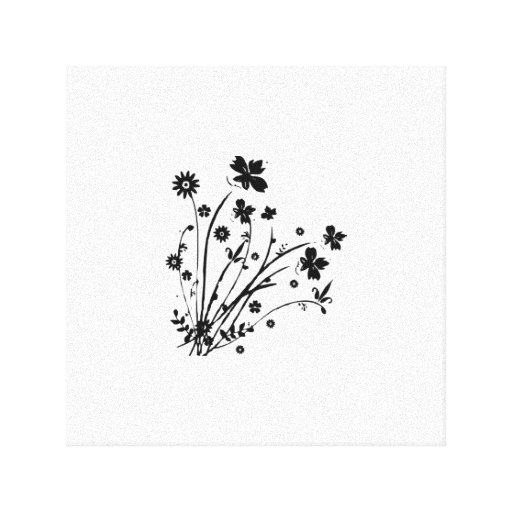 Black And White Floral Burst Gallery Wrapped Canvas