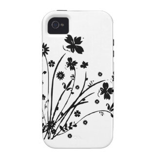 Black And White Floral Burst Case-Mate iPhone 4 Cover