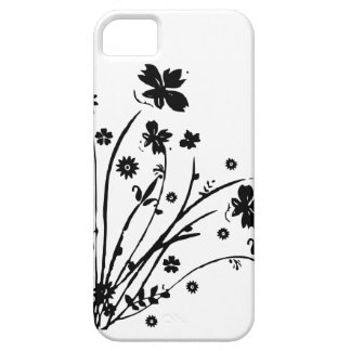 Black And White Floral Burst iPhone 5/5S Cases