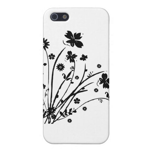 Black and White Floral Burst iPhone 5 Covers