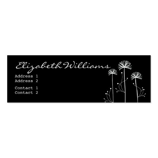 Black and White Floral Business Cards