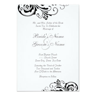 Black and White Floral Chic Wedding Invitation