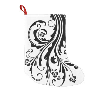 Black and White Floral Chic Wedding Small Christmas Stocking