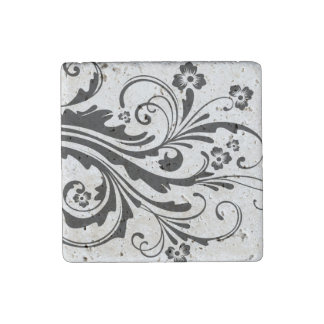 Black and White Floral Chic Wedding Stone Magnet