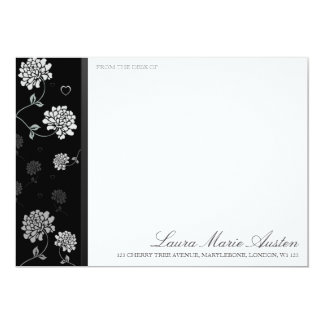 Black and White Floral Correspondence Cards 13 Cm X 18 Cm Invitation Card