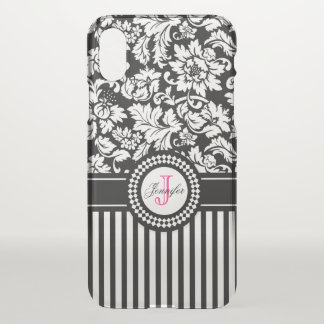 Black And White Floral Damask And Stripes iPhone X Case