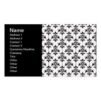 Black and White Floral Damask Business Cards