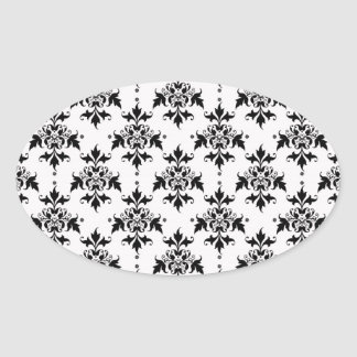 Black and White Floral Damask Oval Sticker