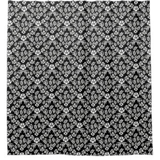 Black and White Floral Damask Shower Curtain