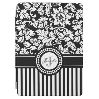 Black And White Floral Damask & Stripes-Monogram iPad Air Cover