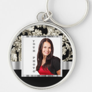 Black and white floral damask template key ring
