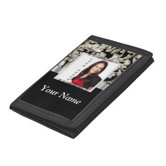 Black and white floral damask template tri-fold wallet