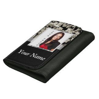 Black and white floral damask template wallets
