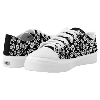 Black and White Floral Damask Tennis Shoes Printed Shoes