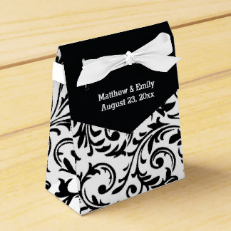 Black and White Floral Damask Wedding Favor Boxes