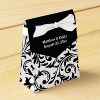 Black and White Floral Damask Favour Boxes
