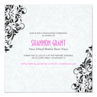 Black And White Floral Damasks-Elegant Grad Invite