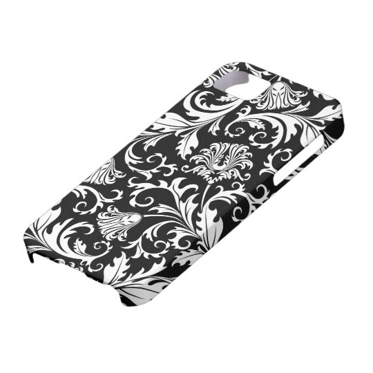 Black And White Floral Damasks Vintage Pattern iPhone
