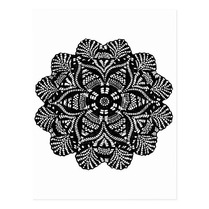 Black and White Floral Design Postcard
