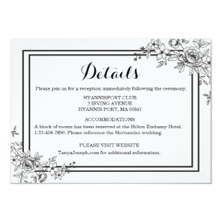 Black And White Floral Details Flower 11 Cm X 16 Cm Invitation Card