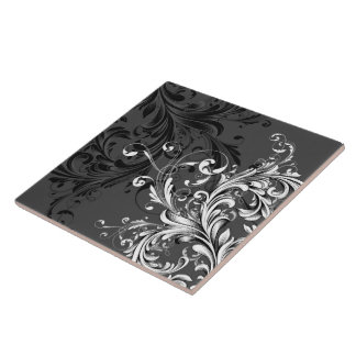 Black and White Floral Flourish Large Square Tile