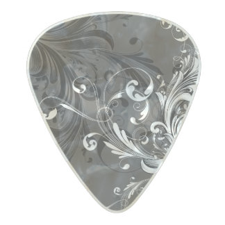 Black and White Floral Flourish Pearl Celluloid Guitar Pick