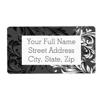 Black and White Floral Flourish Shipping Label