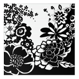 Black and White Floral Garden Graphic Pattern Acrylic Wall Art