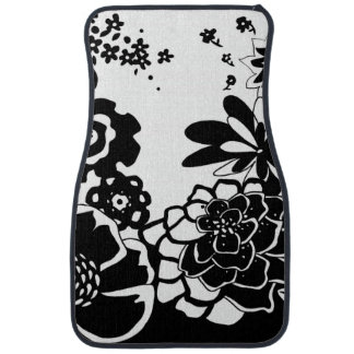 Black and White Floral Garden Graphic Pattern Car Mat