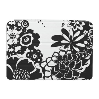 Black and White Floral Garden Graphic Pattern iPad Mini Cover