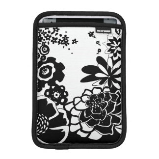 Black and White Floral Garden Graphic Pattern iPad Mini Sleeve