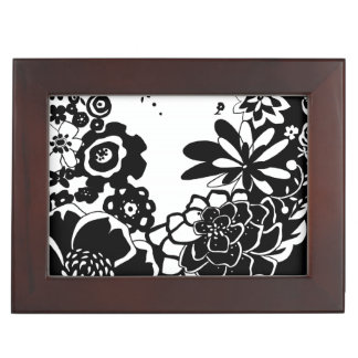 Black and White Floral Garden Graphic Pattern Memory Boxes