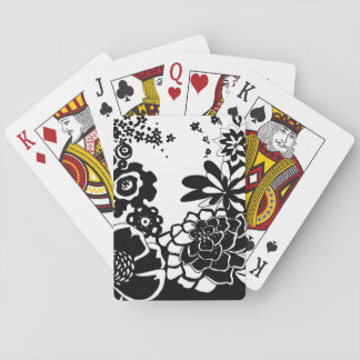 Black and White Floral Garden Graphic Pattern Poker Deck