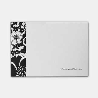 Black and White Floral Garden Graphic Pattern Post-it Notes