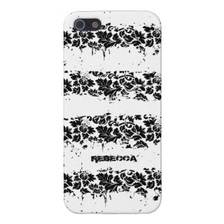 Black And White Floral Grunge Stripes Pattern iPhone 5/5S Case