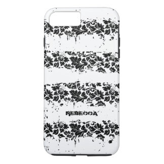 Black And White Floral Grunge Stripes Pattern iPhone 7 Plus Case