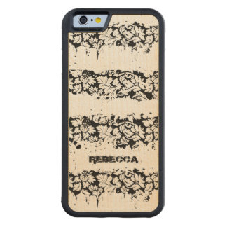 Black And White Floral Grunge Stripes Pattern Maple iPhone 6 Bumper Case
