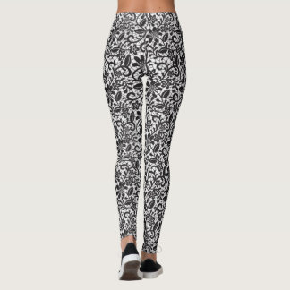 Black and White Floral Lace Leggings
